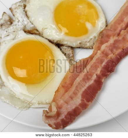 Fried Eggs And Bacon  ,Close Up