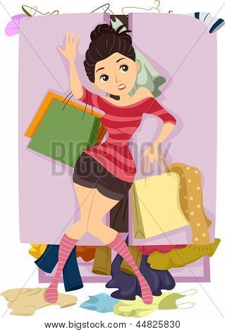 Illustration of Teenage Girl closing the door of an Overflowing Closet