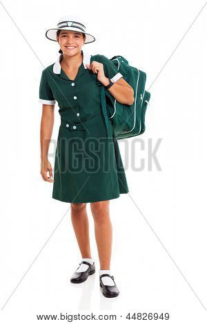 happy female middle school student carrying her backpack isolated on white background
