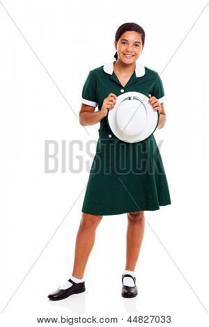 teen school girl holding a hat isolated on white background
