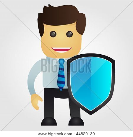 Business man with protection shield