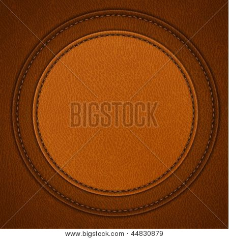 Leather background with round stitched label - raster version