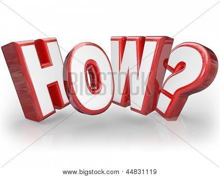 A palavra como e ponto de interrogação em 3d letras vermelhas, buscando uma resposta ou explicação para um mistério