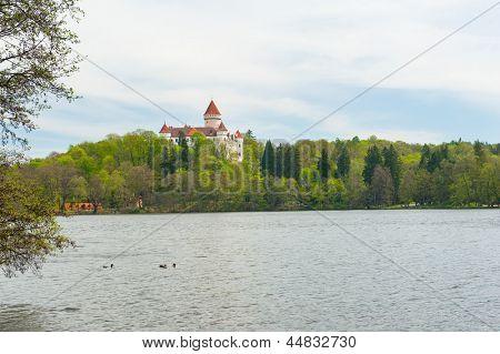 Beautiful castle Konopiste reflecting in water, Czech Republic