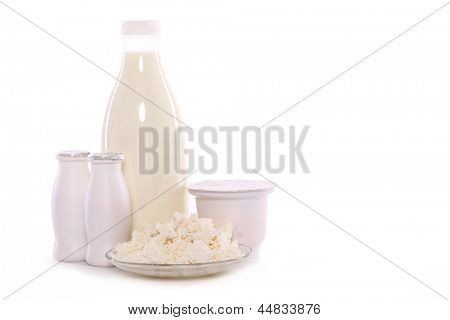 Milk an dairy products isolated on white background