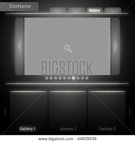 Plantilla de sitio de blanco y negro para la galería de imágenes