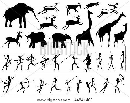Set Of Pictures Of People And Animals In The Prehistoric Period