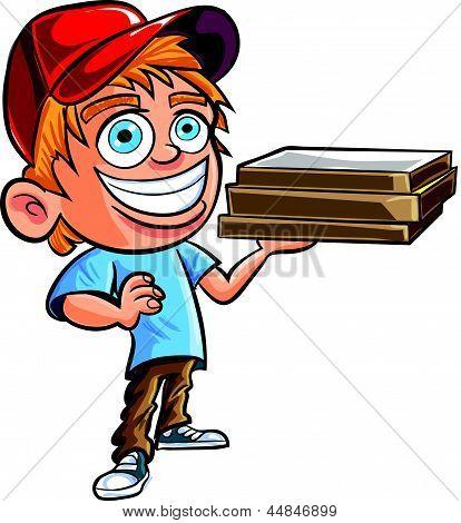 Cartoon of cute Pizza delivery boy.