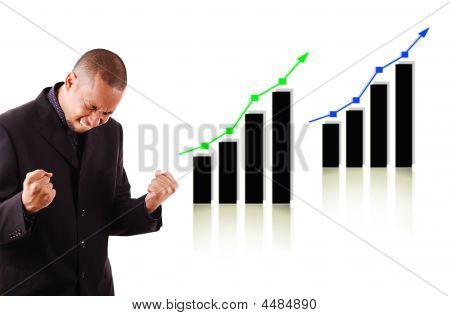 Happy Business Man With Two Rising Graphs