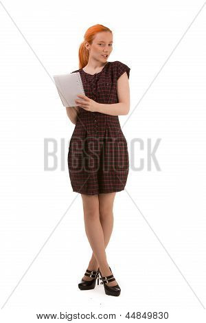 Attractive Redhead Woman Writing Notes