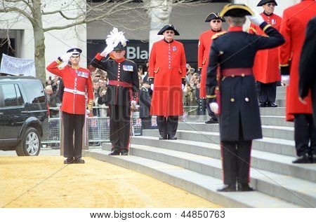 Military Figures Await The Departure Of Margret Thatcher's Coffin After Her Funeral Outside Londons