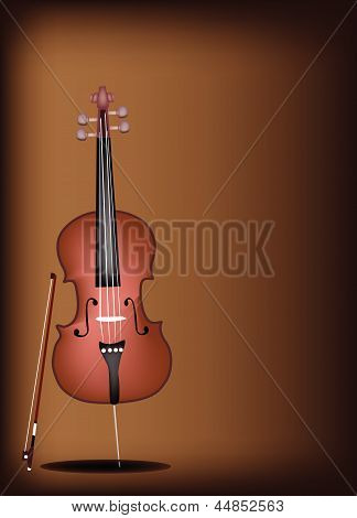 A Beautiful Brown Cello on Dark Brown Background