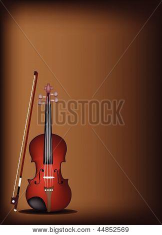 A Beautiful Violin on Dark Brown Background