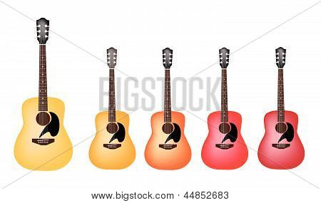 Beautiful Red and Orange Colors of Acoustic Guitars