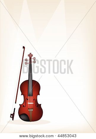 A Beautiful Violin on Brown Stage Background