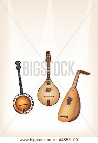 Music Instrument, An Illustration of A Beautiful Antique Musical Instrument Strings, Bluegrass Mandolin, Banjo and Lute on Beautiful Vintage Brown Stage Background with Copy Space for Text Decorated poster