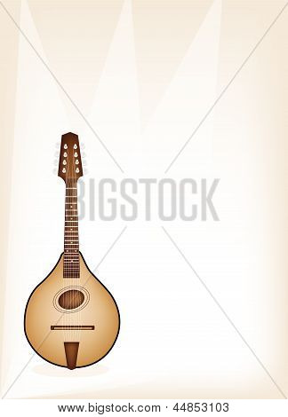 A Beautiful Antique Mandolin on Brown Stage Background