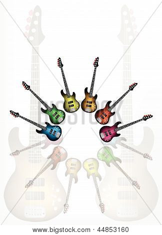 Various Color of Electric Guitars with Guitar Shadow Background