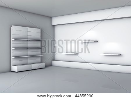 3D Stands With Shelves For Exhibit In The Grey Interior