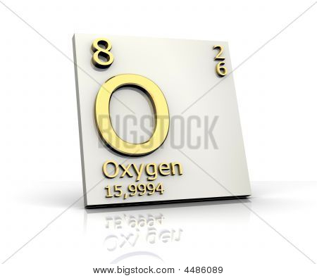Oxygen form Periodic Table of Elements - 3d made poster