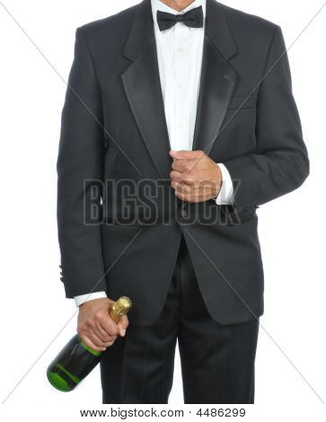 Waiter With Champagne Bottle