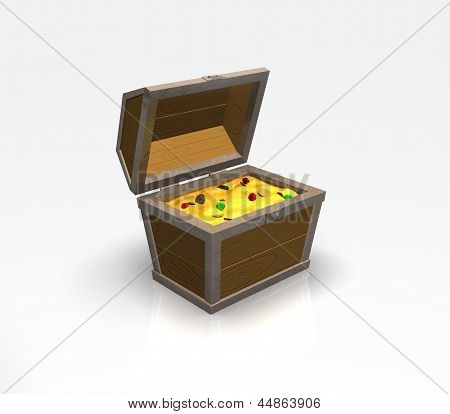 Treasure chest on white