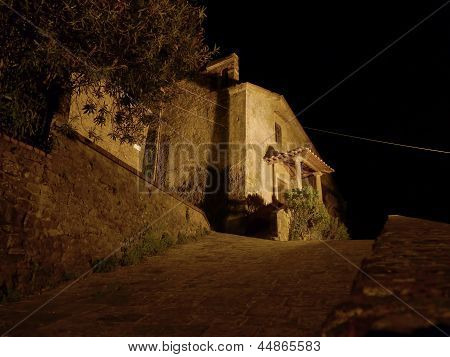 Church At Night In Montecatini (italy)