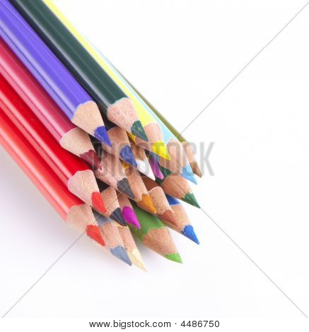 Coloured Pencils On White