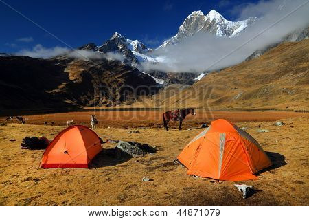 Camping in Cordiliera Huayhuash, Laguna Jahuacocha, Peru, South America poster