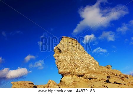 Romanian Sphinx, geological phenomenon formed through erosion in Bucegi Mountains