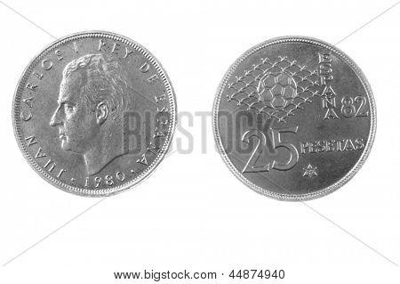 1980 Juan Carlos era Spanish 25 Pesetas coin isolated on white