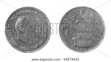1957 Franco era Spanish 50 Pesetas coin isolated on white