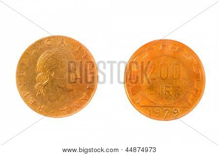 Pre EEC now not in use, Italian 200 Lire coin isolated on white