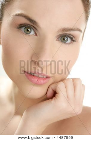 Beautiful Woman Portrait With Hands On Head