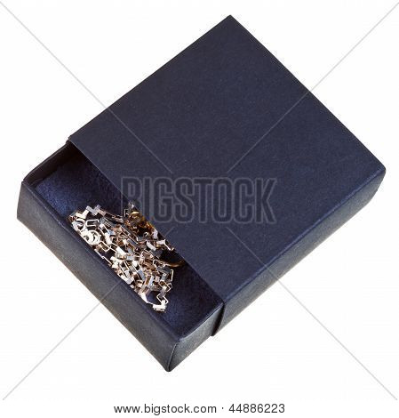 Open Black Gift Box With Golden Chainlet