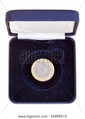 One Euro Coin In Open Black Case