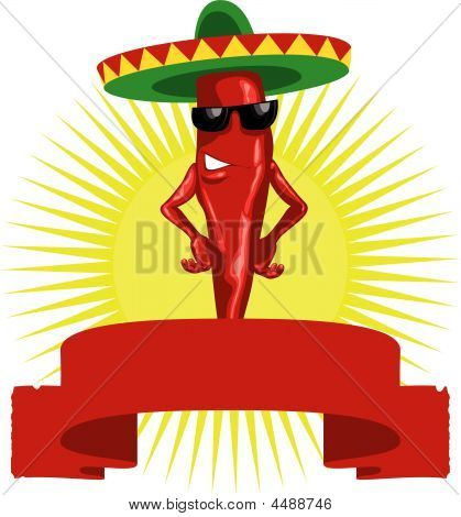 Hot Mexican Chili Paper Label Red.