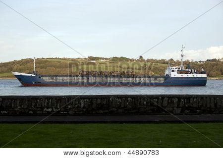 Cargo Ship With Lumber