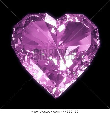 Diamond heart isolated with clipping path
