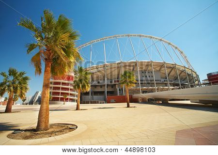 Outside Khalifa sports stadium in Doha Qatar Middle East where the 2006 Asian games were hosted and location for the proposed 2016 Games (wide angle lens distortion on edges) - HDR Image poster