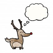 cartoon reindeer with thought bubble poster
