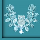 Charming owl on a perch poster