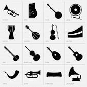 Set of musical instruments icons (part 2) poster