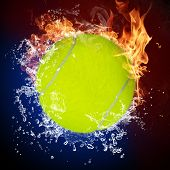 Tennis ball in fire flames and splashing water poster