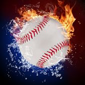 Baseball ball in fire flames and splashing water poster
