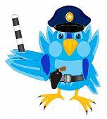 Illustration of the bird sparrow police .Cartoon sparrow police poster