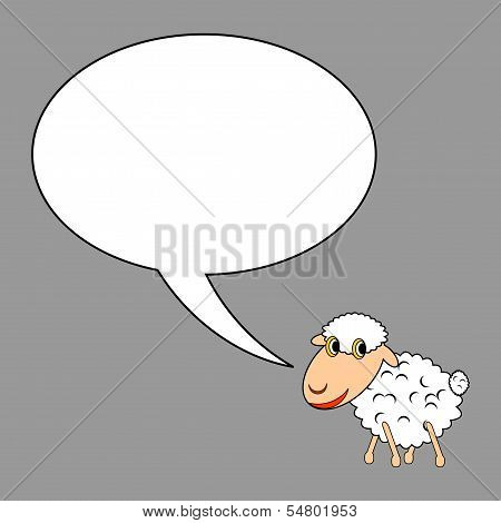 A funny cartoon sheep with a talking bubble. Vector-art illustration on a grey background poster