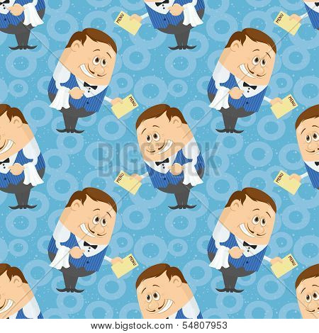 Seamless background with Waiters with menu, cartoon characters on blue background with abstract pattern. Vector poster