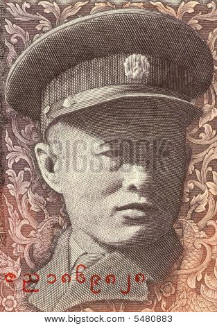 General Aung San on 10 Kyats 1973 Banknote from Burma. Revolutionary nationalist and founder of the modern Burmese army the Tatmadaw. poster