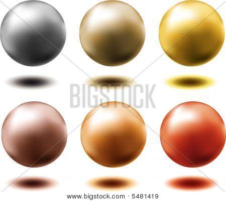 Set Of Different Metallic Spheres